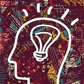 Brain creative head business idea art icon and background.