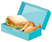 Lunch box with sandwiches and fried chicken