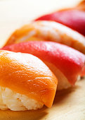 Nigiri Sushi on Wood - Vertical