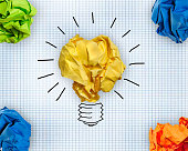 creative idea.Concept of idea and innovation with paper ball