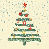 Holiday hand drawn sketch Christmas and New Year greeting card