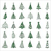 Set hand-drawn sketch Christmas and New Year tree