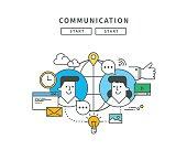 simple line flat design of communication, modern vector illustration