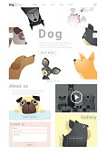 Animal website template  banner and infographic with Dog 5