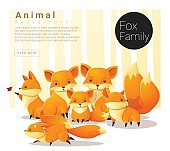 Cute animal family background with Foxes