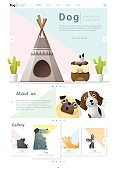 Animal website template  banner and infographic with Dog 6
