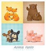 Set of cute animal family portrait