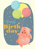Birthday and invitation card animal background with pig
