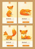 Animal banner with Foxes for web design 1