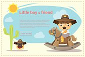 Little cowboy and friend background