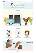 Animal website template  banner and infographic with Dog 8