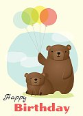 Birthday and invitation card animal background with bear 2