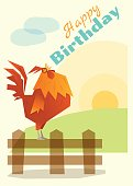 Birthday and invitation card animal background with chicken