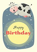 Birthday and invitation card animal background with cow