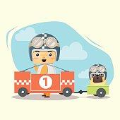 Little boy racer and friend