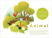 Cute animal family background with Chickens 2