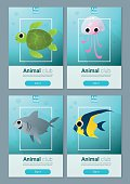Set of sea animal templates for web design 1