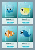 Set of sea animal templates for web design 2