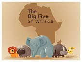 Wild African animal background Big five 1
