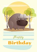 Birthday and invitation card animal background with buffalo