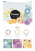 Floral website template  banner and infographic 1