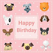 Cute happy birthday card with funny dogs