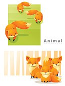 Animal background with Foxes 2