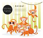 Cute animal family background with Monkeys