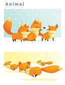Animal background with Foxes 1