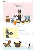 Animal website template  banner and infographic with Dog 3