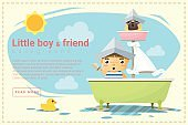 Little boy ship captain and friend background