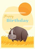 Birthday and invitation card animal background with rhino