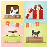 Set of cute dog background