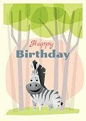 Birthday and invitation card animal background with zebra