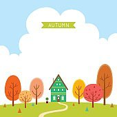 Autumn trees and  house
