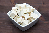 Cubes of tofu square bowl on wood