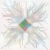 Central Processing Unit and Electric circuit, abstract illustration