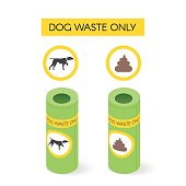 Vector isometric dog waste cans