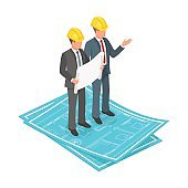 Vector 3d isometric concept of businessman or engineer