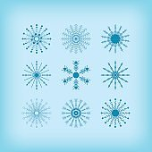 Winter detail circle snowflakes icons set on blue gradient background