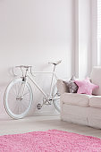 Old fashioned bicycle in room