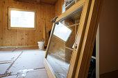 New efficient wooden window prepared for installation