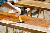 Painting wood with wood protection paint