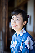 Portrait of a Japanese woman in traditional clothing
