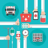 Medical service flat background with hand