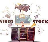 Video Microstock Industry Concept Retro Illustration