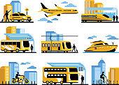 Traveling People Isolated Decorative Icons Set