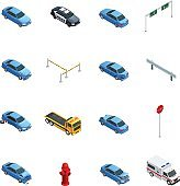 Car Accidents Isometric Icons Set