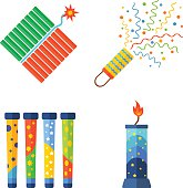 Pyrotechnics and fireworks vector icon