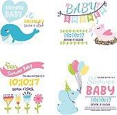 Baby shower invitation vector card